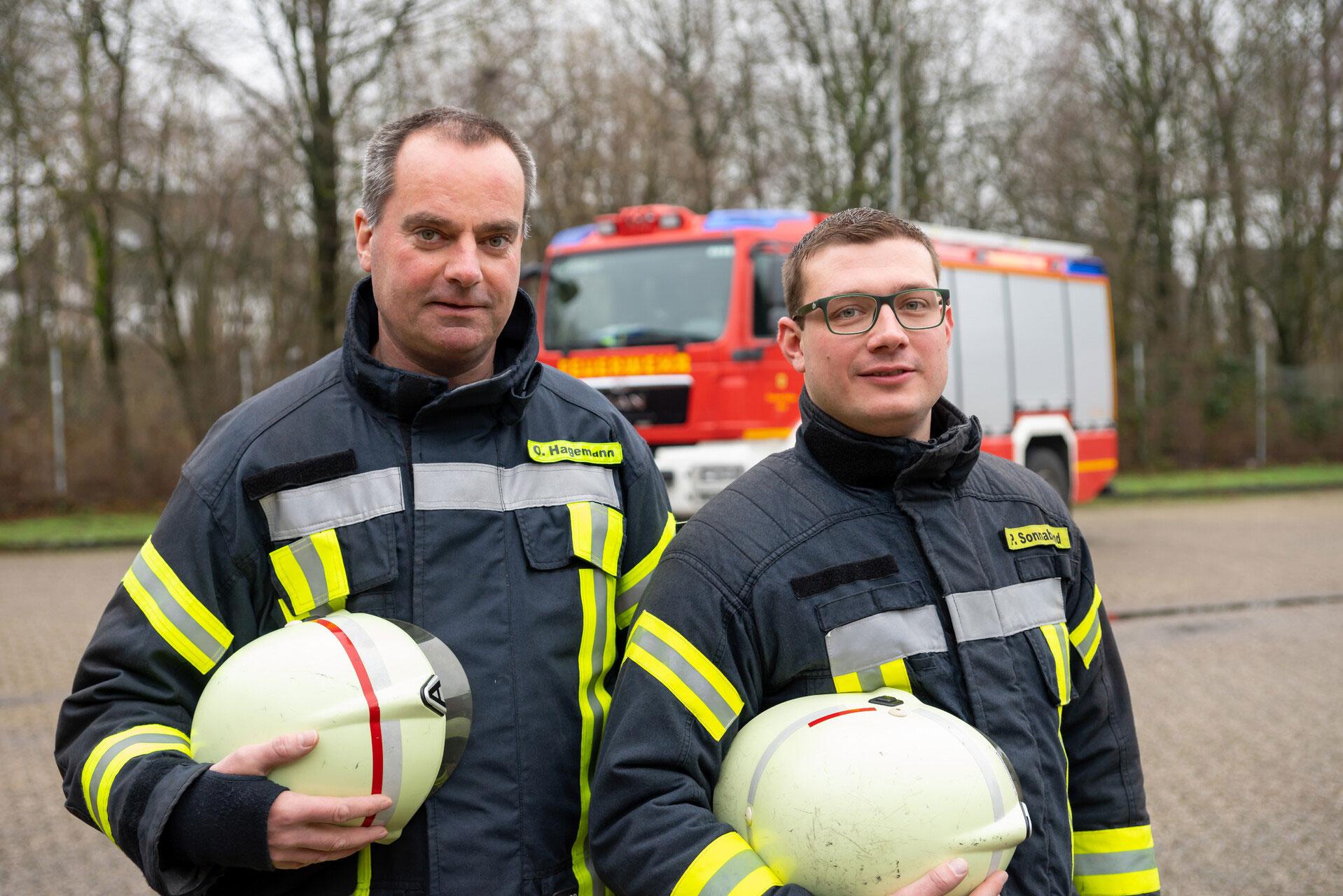Die neuen Zugführer vom Löschzug Hiddingsel sind von links: Olaf Hagemann und sein Stellvertreter Patrick Sonnabend