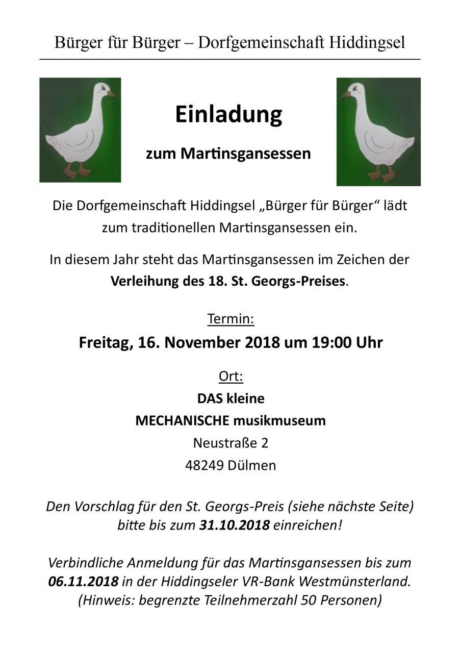 """Die Dorfgemeinschaft Hiddingsel """"Bürger für Bürger"""" lädt zum traditionellen Martinsgansessen ein. In diesem Jahr steht das Martinsgansessen im Zeichen der Verleihung des 18. St. Georgs-Preises."""