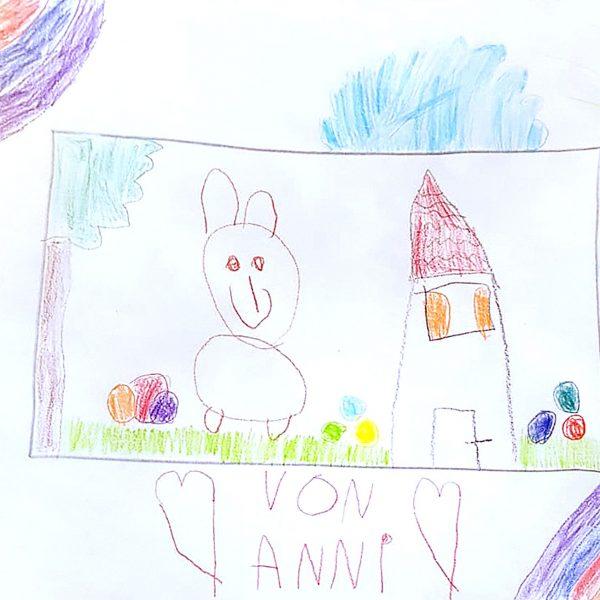 Anni (5 Jahre) freut sich schon auf den Osterhasen, der hoffentlich im heimischen Garten die Ostereier versteckt. Da freuen sich Annis Eltern, die mit dir das gemeinsame Osternest bauen, traditionell aus Moos, oder? Ich drücke Dir die Damen, das du alle Ostereier findest. Toll gemacht.